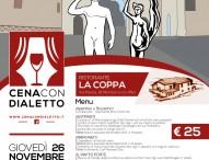 """L'enogastronomia locale sugli scudi al ristorante La Coppa. Giovedì è di scena la terza """"Cena con dialetto"""""""