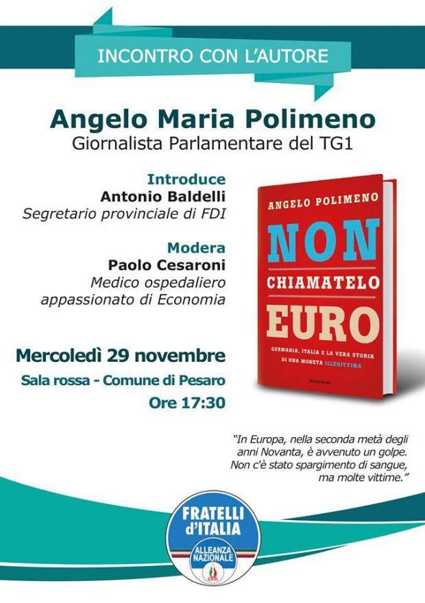 Pesaro, Fratelli d'Italia parla di euro con il giornalista Rai Polimeno