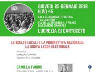 Pd, assemblea pubblica a Lucrezia sulla legge elettorale e sul programma