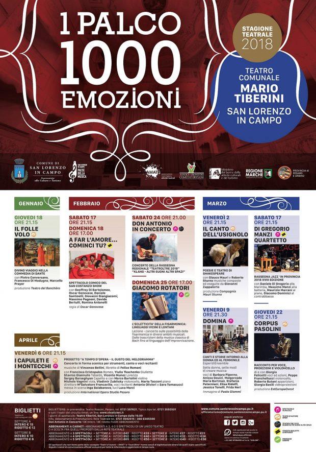 """San Lorenzo in Campo, 9 appuntamenti per la stagione teatrale """"1 palco 1000 emozioni"""": prosa, musica e comicità"""