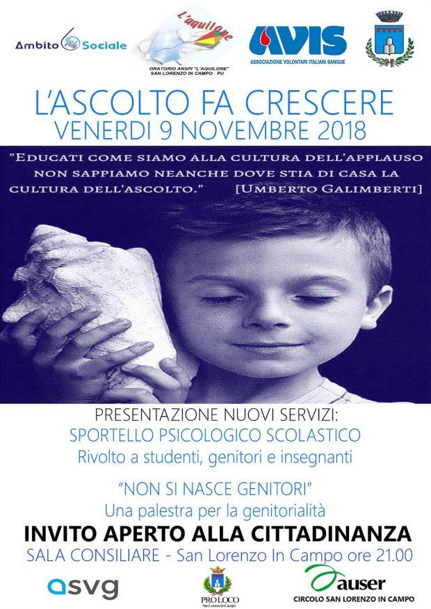 A San Lorenzo in Campo il progretto 'L'ascolto fa crescere': spotello psicologico e incontri per studenti, genitori e insegnanti