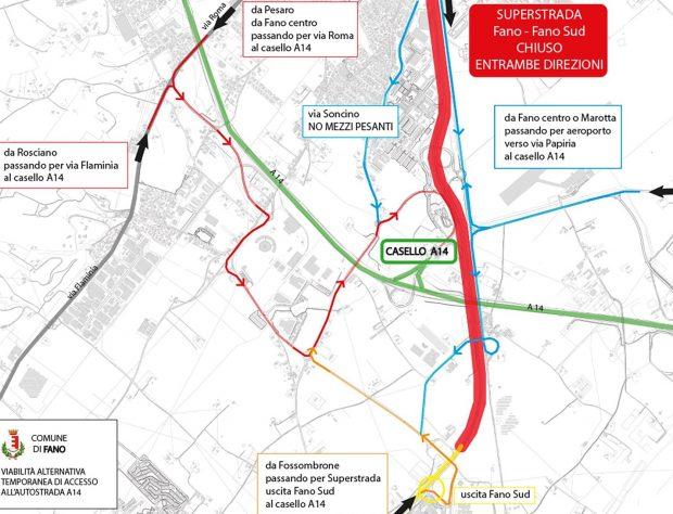 Chiusura tratto superstrada Fano-Fano sud, i percorsi alternativi