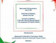 """A Calcinelli incontro """"Il No alla riforma Boschi-Renzi e le proposte di Fratelli d'Italia"""""""
