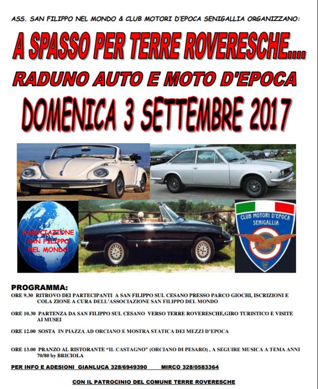 """""""A spasso per Terre Roveresche"""", raduno auto e moto d'epoca"""