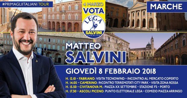 Matteo Salvini nelle Marche