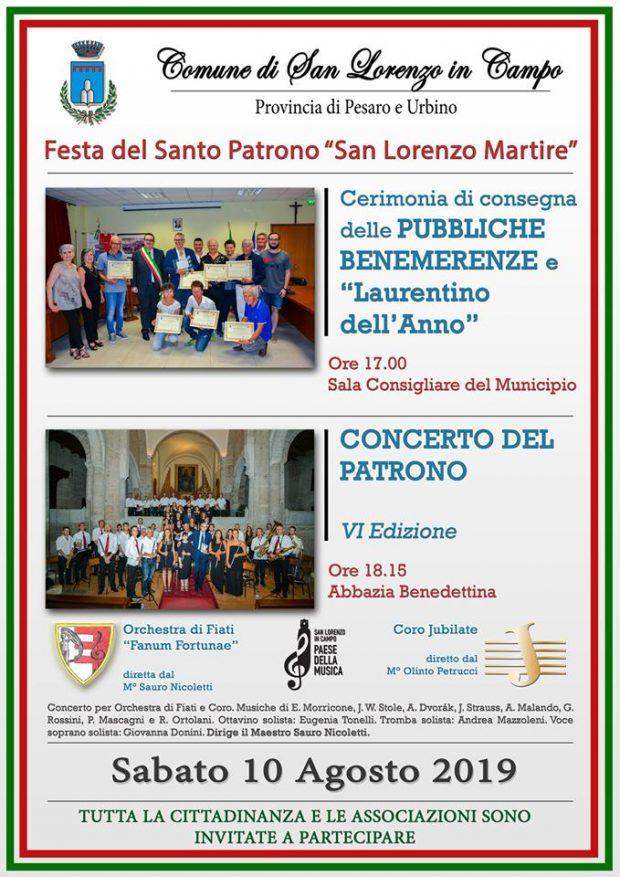 10 Agosto, a San Lorenzo in Campo consegna delle Pubbliche benemerenze e Concerto del Patrono