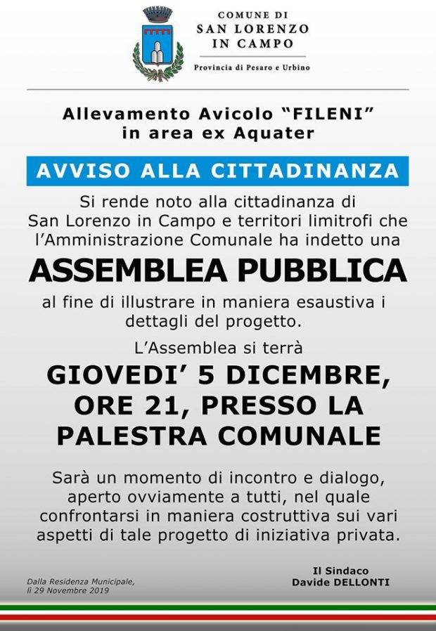 Progetto Fileni, assemblea pubblica giovedì a San Lorenzo in Campo