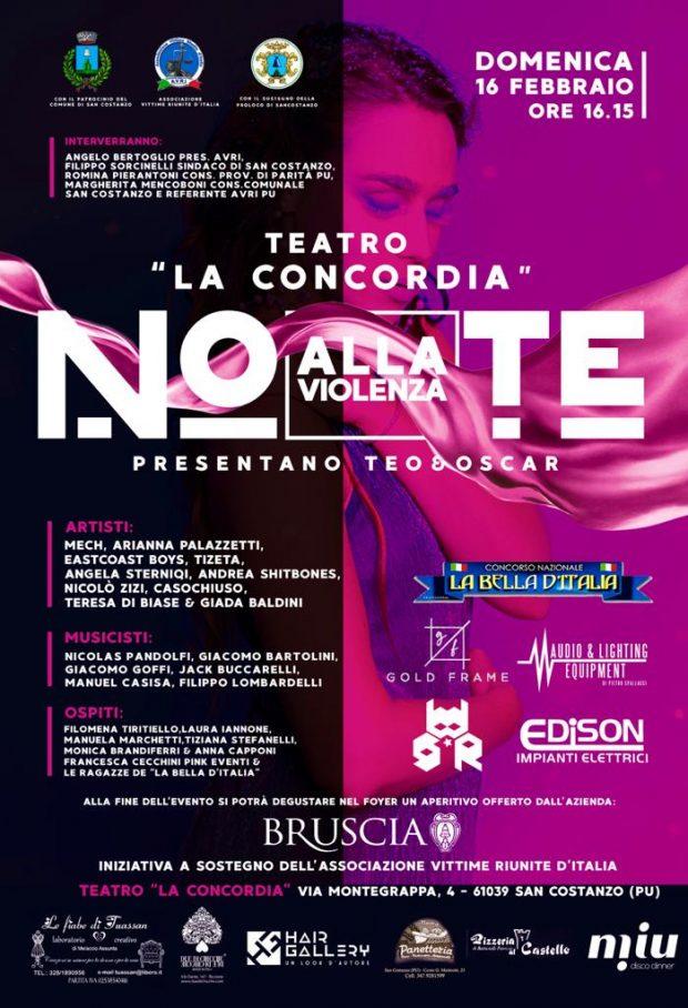 'NOte alla Violenza' al teatro di San Costanzo