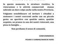 """Confcommercio Pesaro Urbino: """"Sosteniamo gli esercenti anche con un piccolo gesto, non perdiamo il senso di comunità"""""""