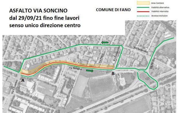 Fano, lavori in Via Soncino: modifiche allaviabilità